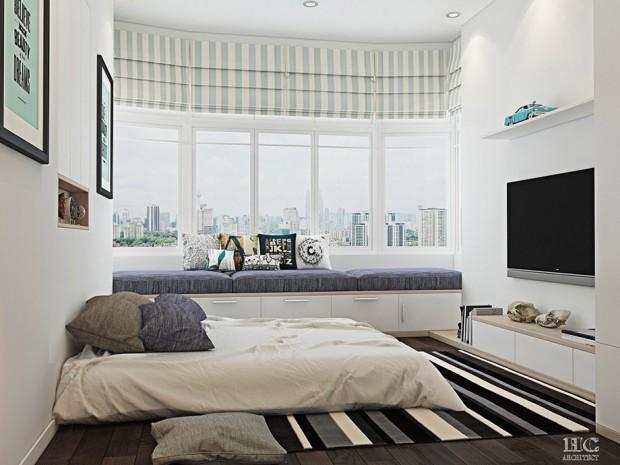 ห้องนอนโทนขาว เทา ดำ