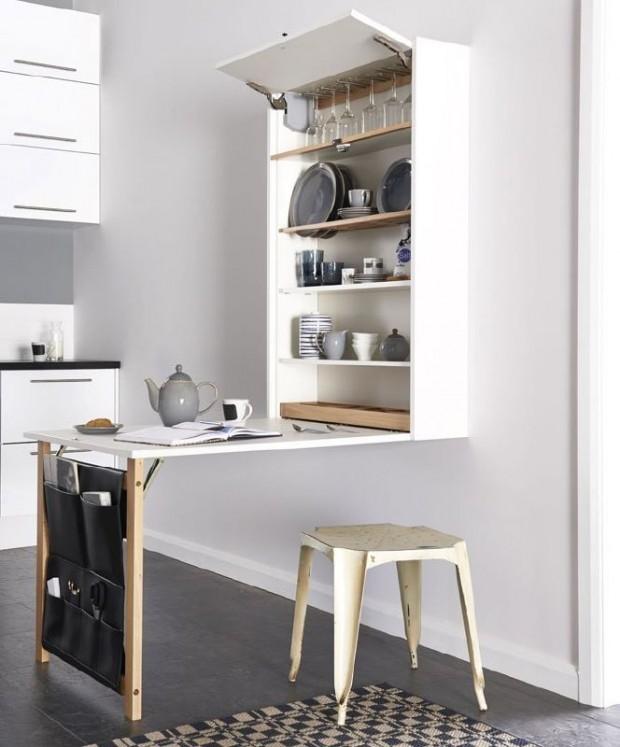 โต๊ะพับติดผนังในครัว