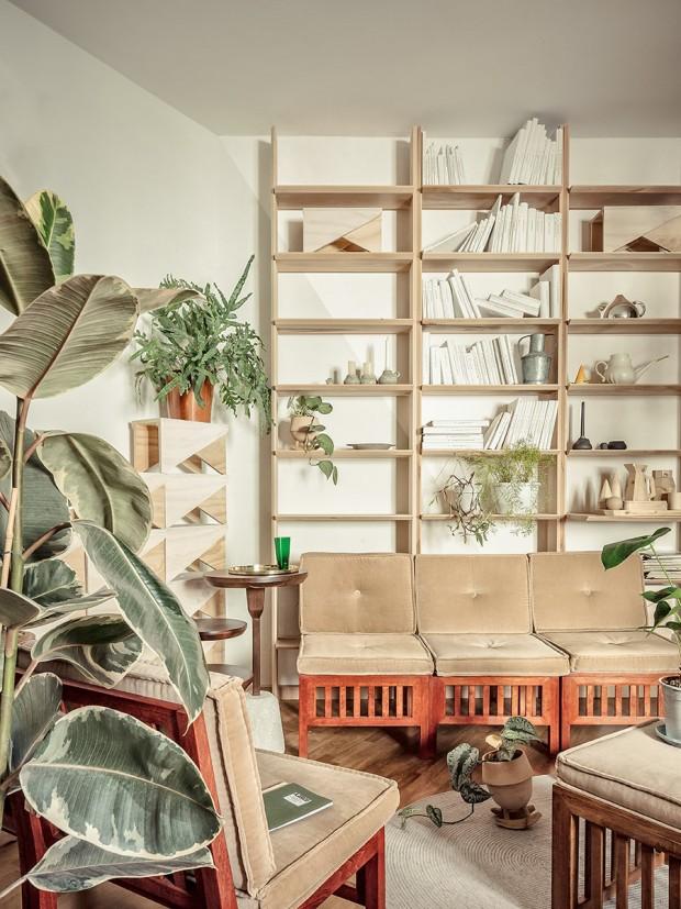 ชั้นวางของและโซฟาทำจากไม้