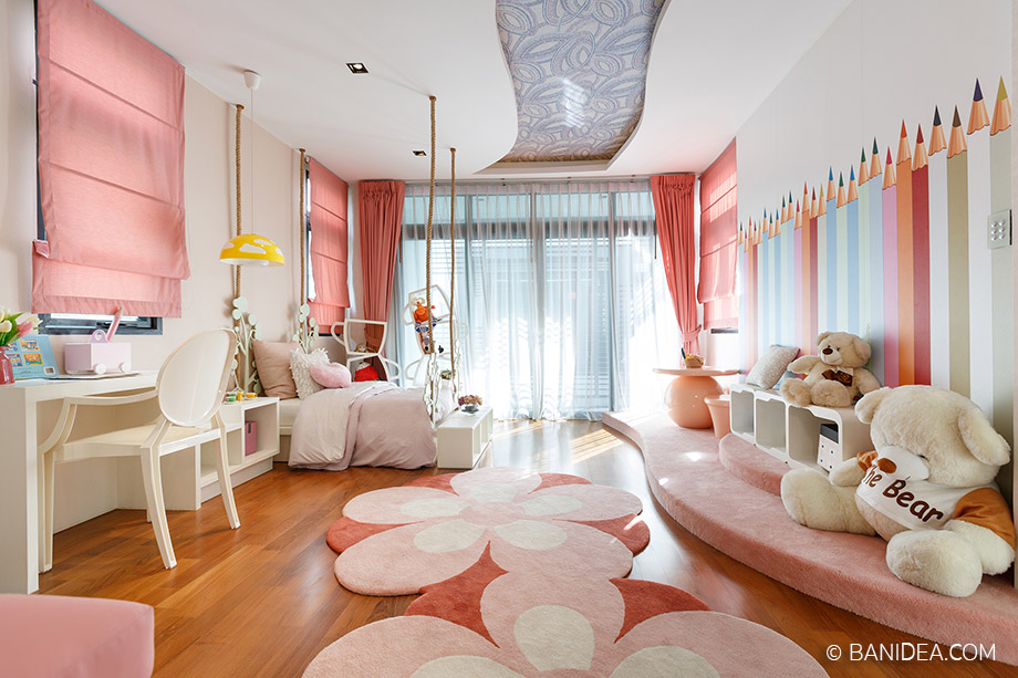 ห้องนอนเด็ก สีชมพู