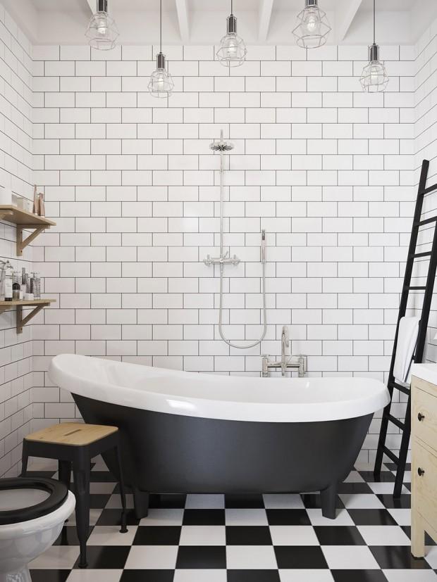 ตกแต่งห้องน้ำโทนสีขาว-ดำ
