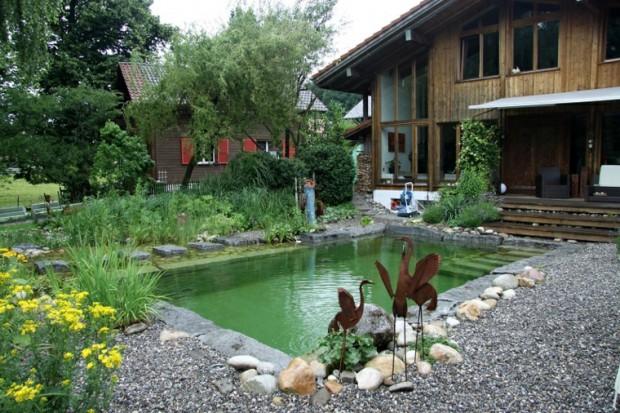 สระว่ายน้ำใแบบธรรมชาติในบ้าน