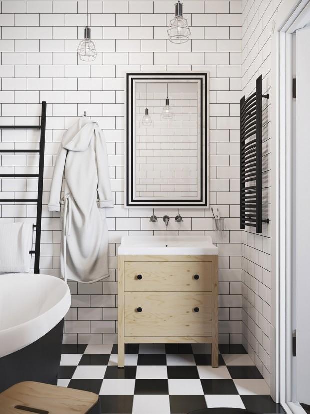 ห้องน้ำติดกระเบื้องสีขาว