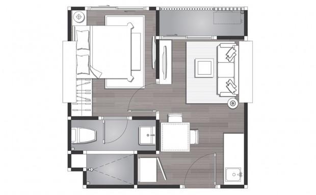 คอนโด 1 ห้องนอน B1-Plan