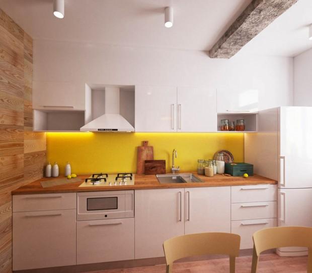 ตกแต่งครัวสีขาว-เหลือง