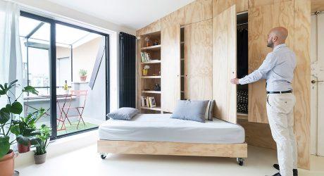 ผนังไม้อัดเปิดเก็บเตียงได้