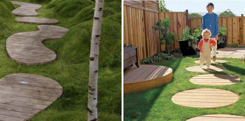 ทางเดินในบ้านทำจากไม้รูปร่างสนุกๆ