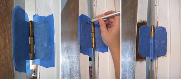 วิธีการทาสีกรอบประตูโดยเว้นบานพับ