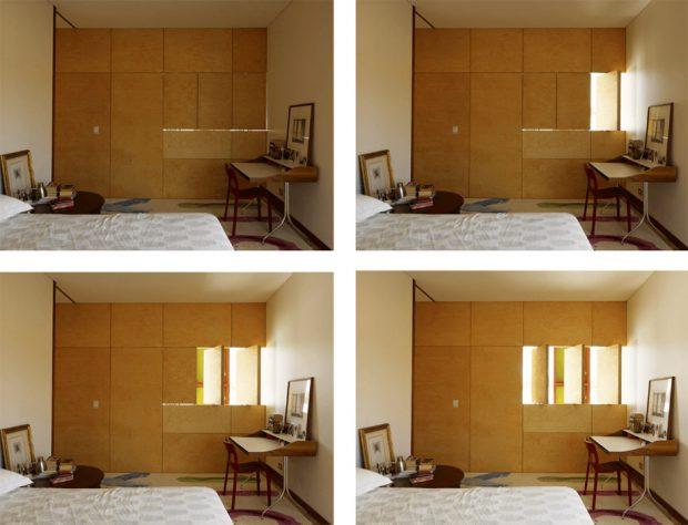 ผนังห้องนอนกรุไม้ซ่อนหน้าต่าง