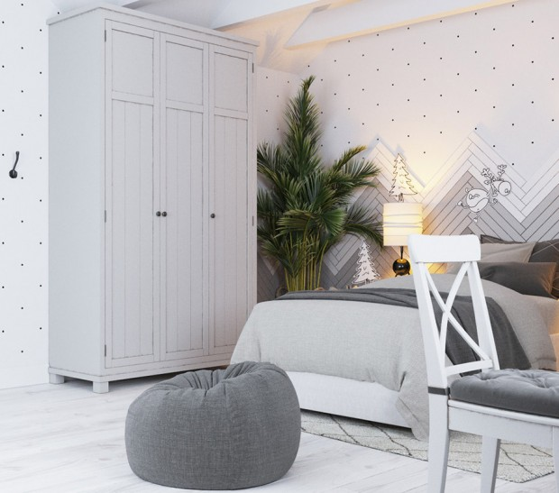 ห้องนอนเด็กโทนสีขาว-เทา