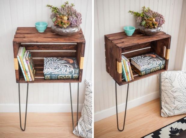 diy โต๊ะข้างทำจากลังผลไม้