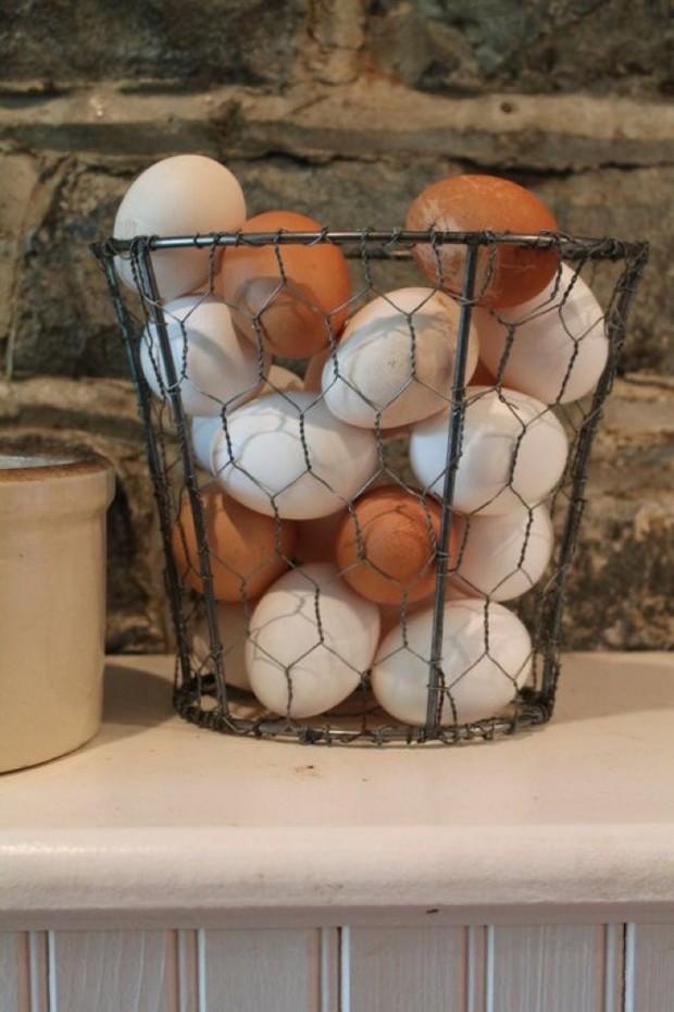 ตะกร้าใส่ไข่ทำจากตาข่ายกรงไก่
