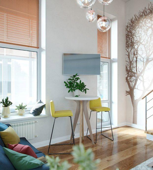 มุมนั่งเล่นริมหน้าต่างสีสันสดใสน่านั่ง