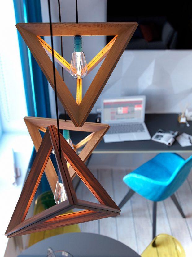 โคมไฟไม้สามเหลี่ยมดีไซน์สวย