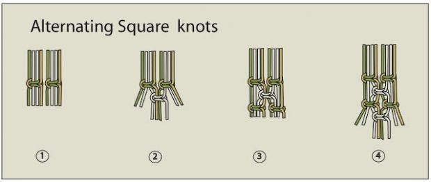 แพทเทิร์นถักเชือกแบบ Alternate square