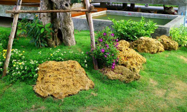 ตกแต่งสวนด้วยก้อนหินและไม้ดอกเล็ก ๆ