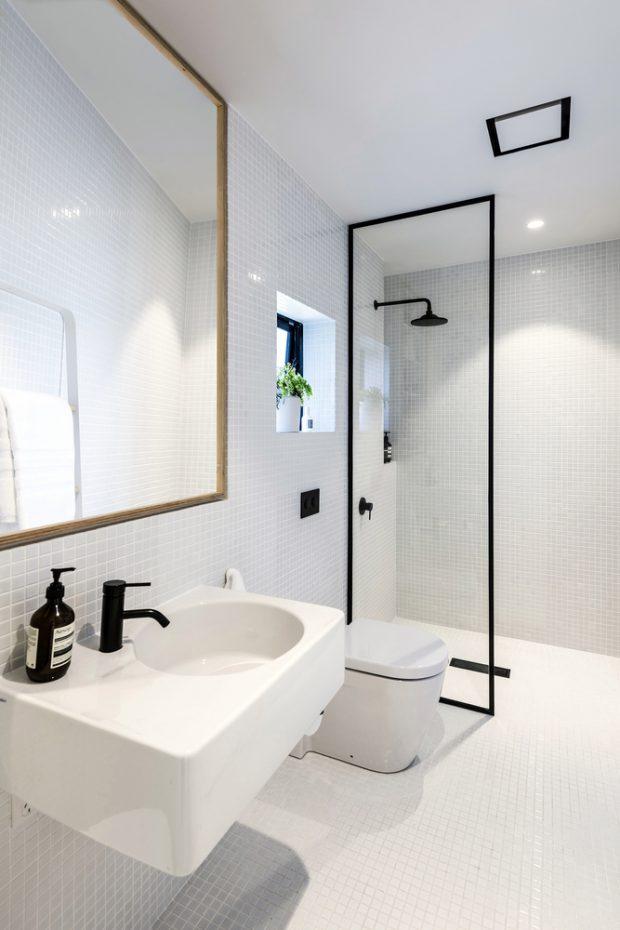 ตกแต่งห้องน้ำทูโทนขาว-ดำ