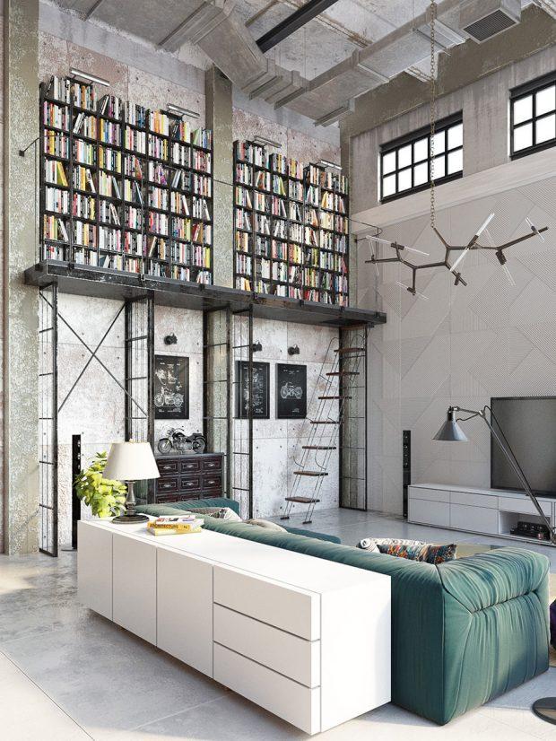 ห้องนั่งเล่นแบบเปิด สไตล์ modern industrial loft