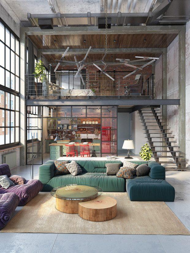 ตกแต่งบ้านสไตล์ industrial loft