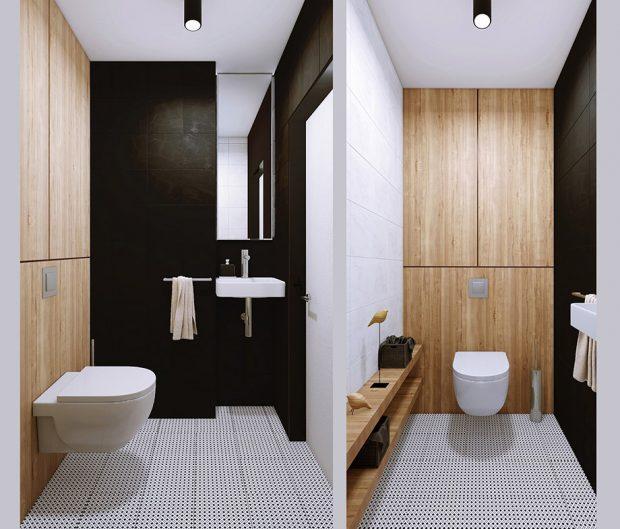 ห้องน้ำโทนขาว-ดำ แทรกงานไม้