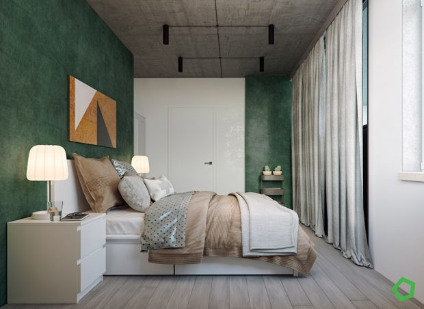 ห้องนอนบรรยากาศสบายสีเขียว ขาว น้ำตาล