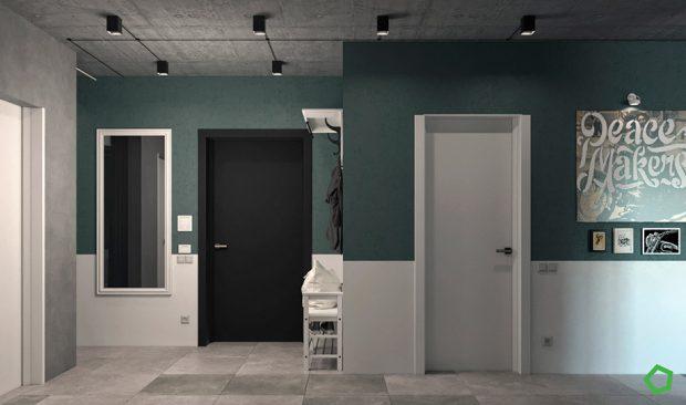ห้อง Loft ผนังสีเขียว