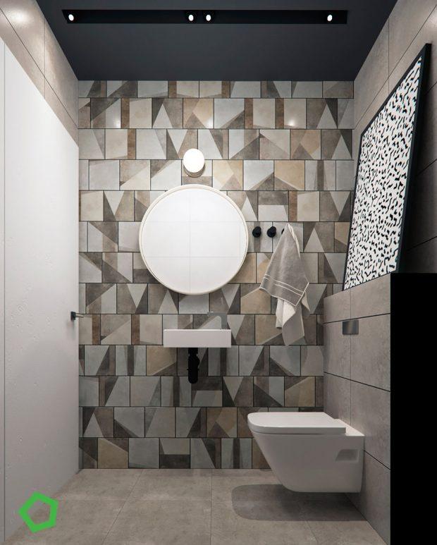 ผนังห้องน้ำโดดเด่นที่กระเบื้องหลากสี