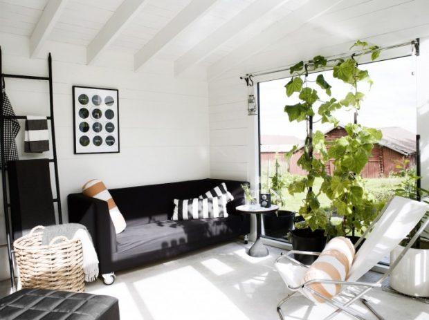 ห้องนั่งเล่นปลูกผักไว้ข้างใน
