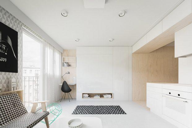ตกแต่งห้องโทนสีขาว-ดำ และงานไม้