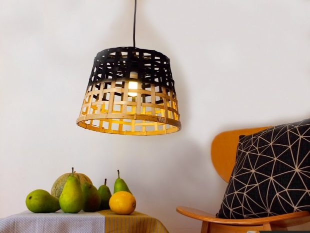 DIY-โคมไฟจากตะกร้าไผ่สาน IKEA