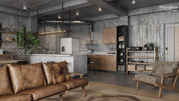 ตู้ครัวบานไม้และชุดโซฟาหนังเพิ่มความอบอุ่นให้บ้าน