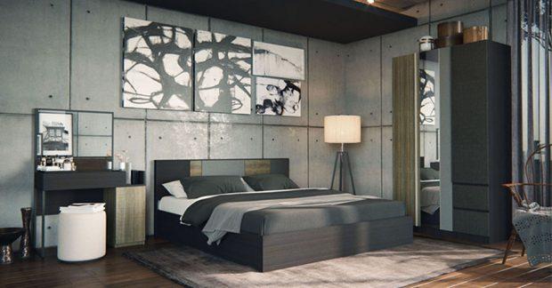 ห้องนอนสไตล์ Modern-Loft