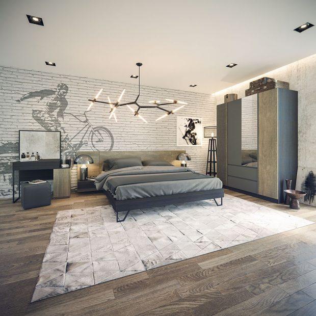 ห้องนอนสไตล์ Modern loft