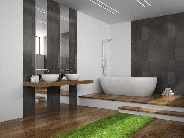 แต่งห้องน้ำด้วยหญ้าเทียม