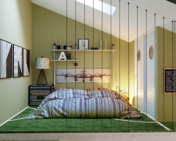 แต่งห้องนอนอารมณ์ธรรมชาติด้วยหญ้าเทียม
