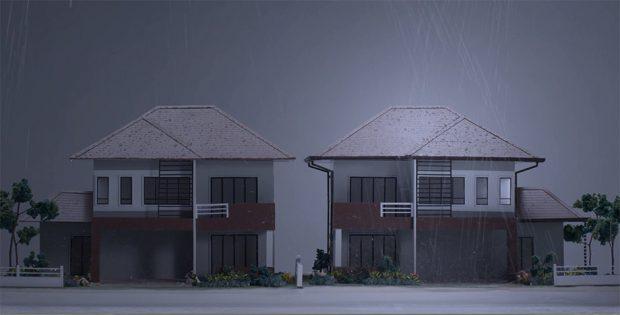 เปรียบเทียบบ้านที่ติดรางน้ำฝนกับไม่ติด