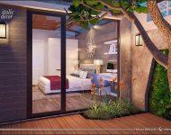 ห้องนอนผนนังกระจกเปิดมุมมองออกสู่สวน