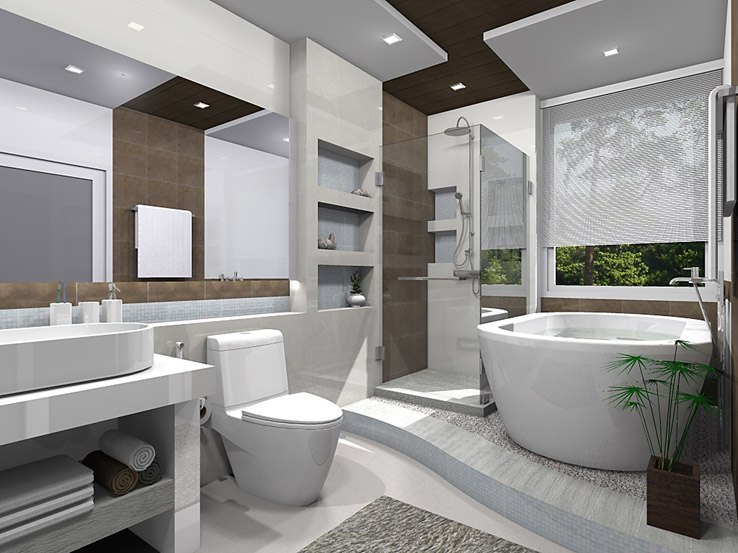 ห้องน้ำสไตล์คอนเทม