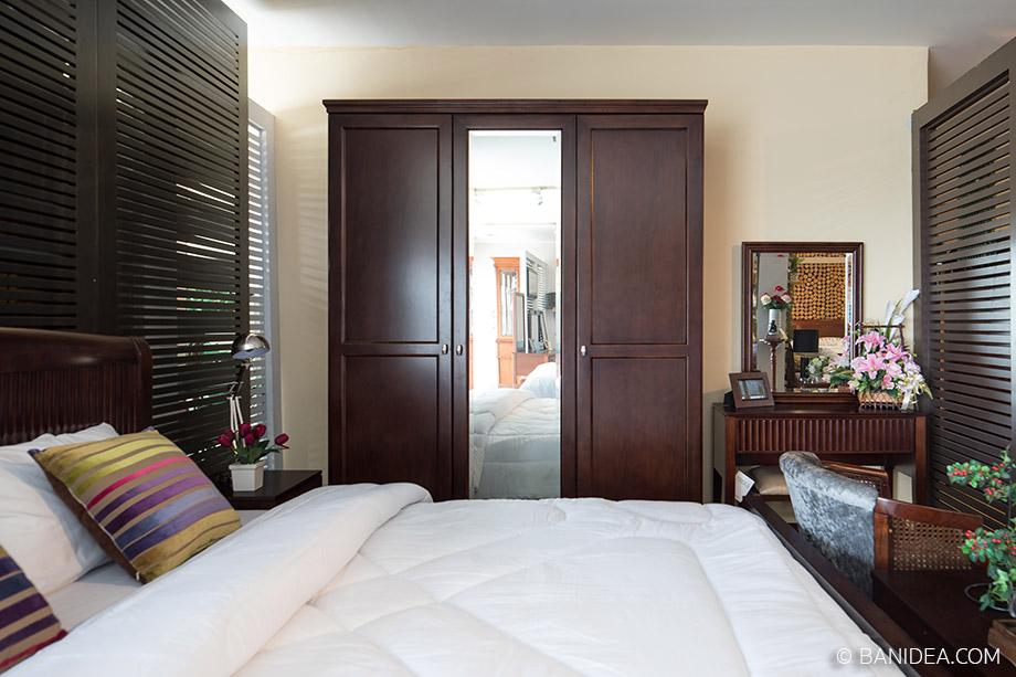 ตู้เสื้อผ้า บานกระจกเงา ทำจากไม้ยางพารา