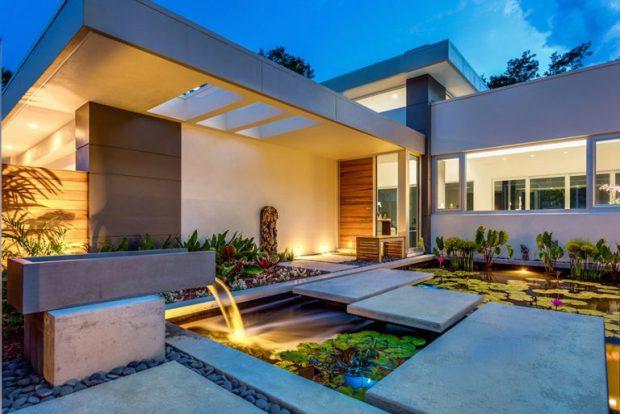 บ้านมีสวนและสระบัวสไตล์ Tropical-Modern-
