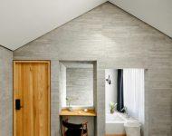 ห้องนอนตกแต่งหินและไม้