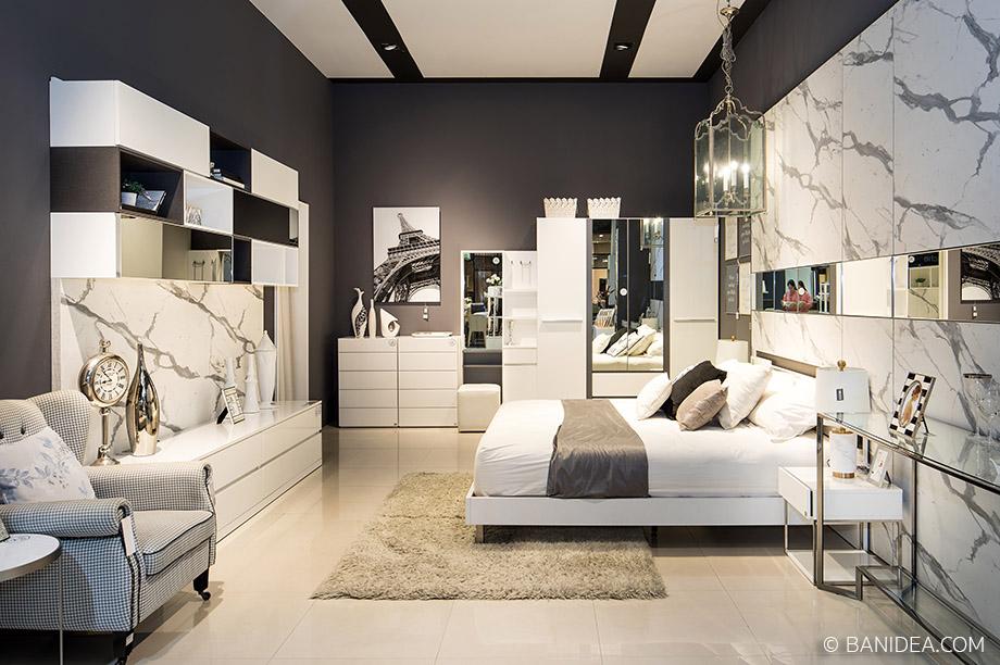 ห้องนอนสีขาว-เทา