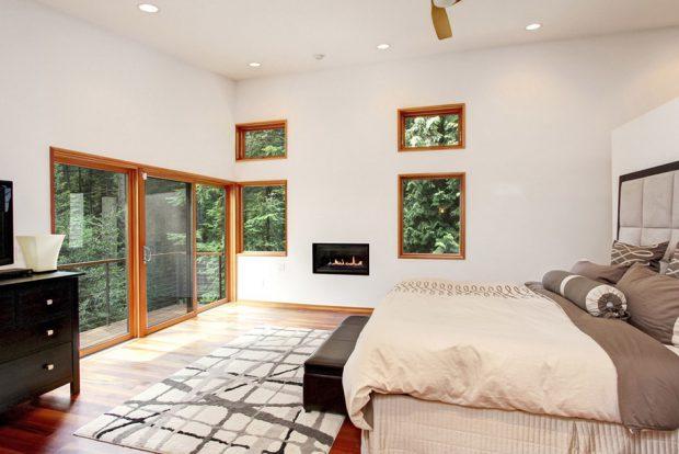 หน้าต่างโมเดิร์นในห้องนอน