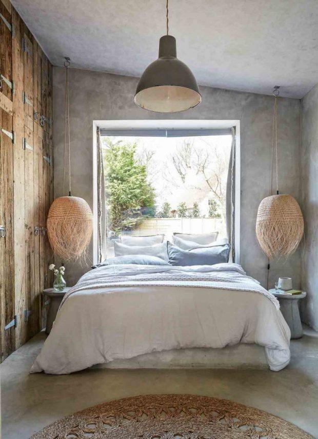 ห้องนอนผนังคอนกรีตแบบชนบท