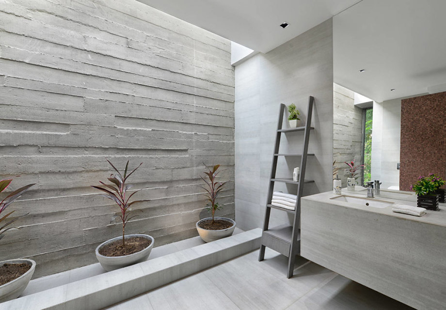 ห้องน้ำผนังคอนกรีต