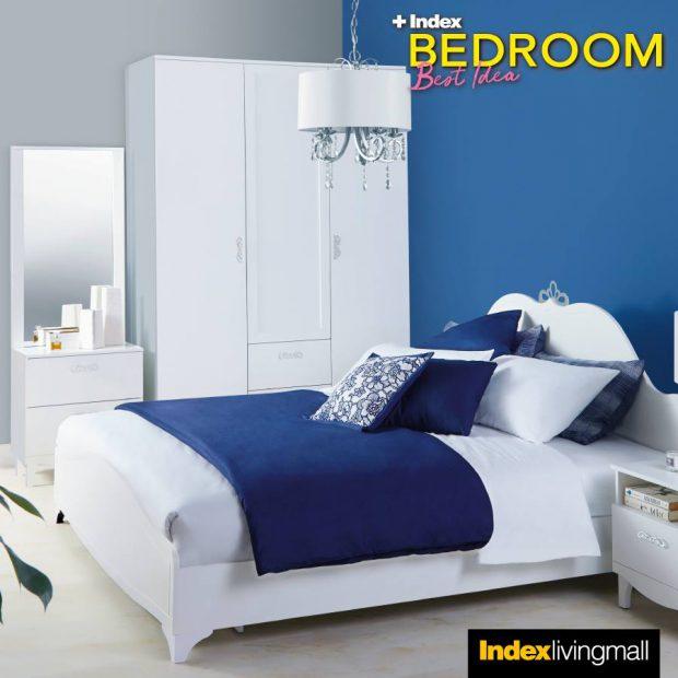ตกแต่งห้องนอนสีน้ำเงินขาว