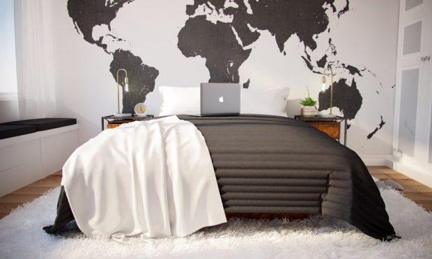 ห้องนอนตกแต่งแผนที่โลก