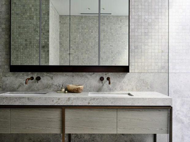 ห้องน้ำโมเดิร์นสีขาวตัดสีดำ