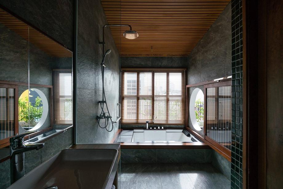 ห้องน้ำปูนเปลือยตกแต่งไม้