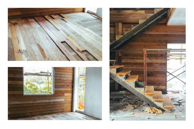 พื้นและผนังจากไม้เก่า